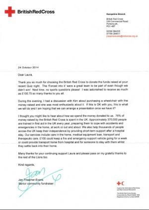 Thank you letter from The British Red Cross