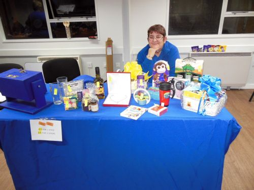 Lion Carole on the raffle table